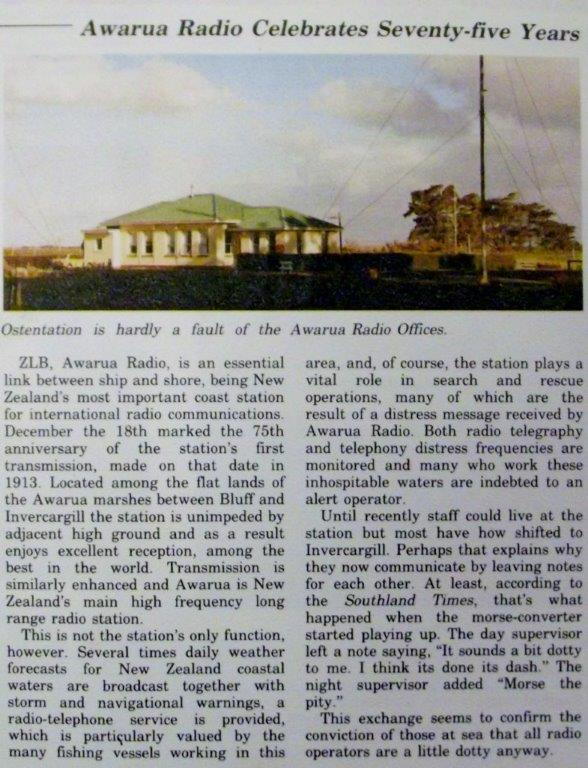 Article on 75th anniversary of Awarua Radio ZLVB, from Southland Harbour Board magazine Portsider in December 1988.