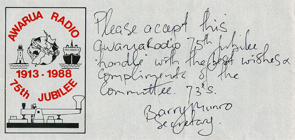 Note from Barry Munro to an attendee at the 75th Anniversary of Awarua Radio