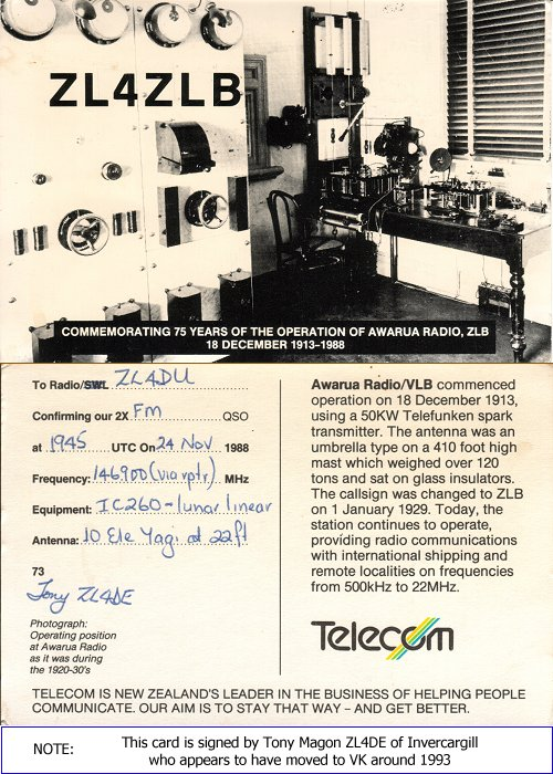 ZL4ZLB 1988 commorative radio QSL card