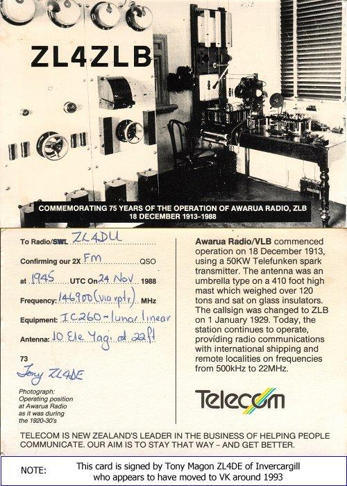 ZL4ZLB 1988 commorative radio QSL card