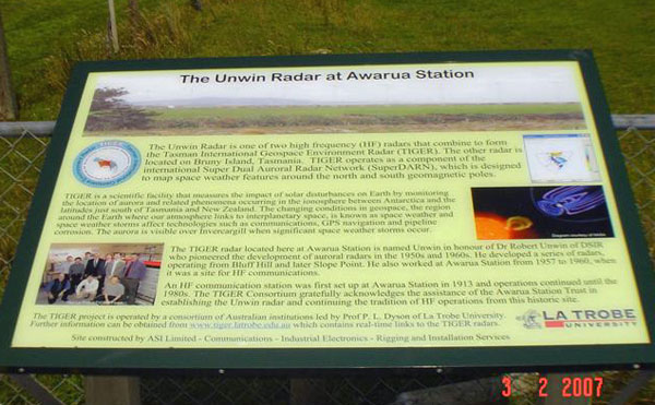Plaque commemorating the Unwin Radar at Awarua Station