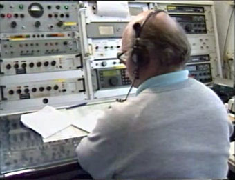Peter Baird at the controls of ZLW Wellington Radio - 30 September 1993