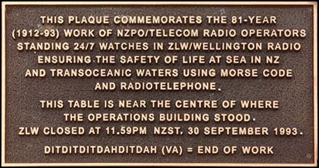 Plaque 0the closure of Wellington Radio ZLW, unveiled 20 September 2013 on Te Ahumairangi (Tinakori Hill)