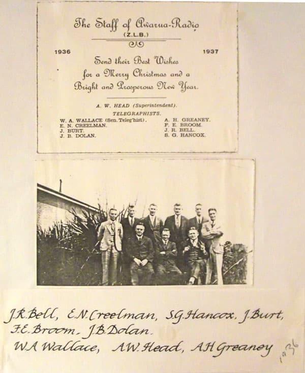 1936 Christmas card from staff of Awarua Radio ZLB