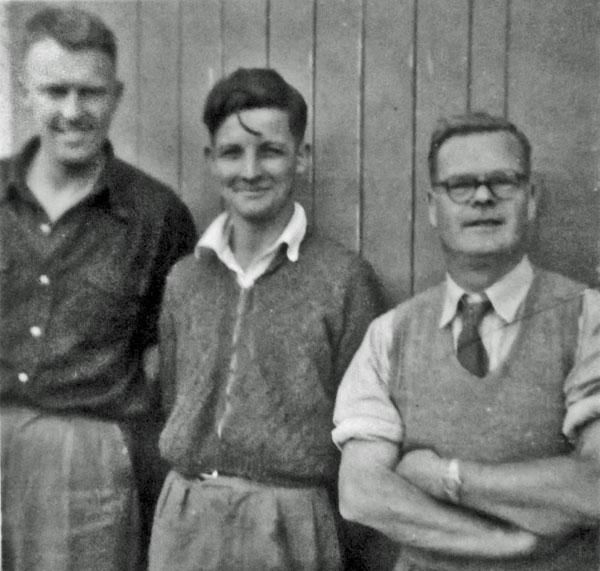 Awarua Radio technicians in the early 1950s. L-R: Ivan Breayley, Don Nicol, Ernie Hancock
