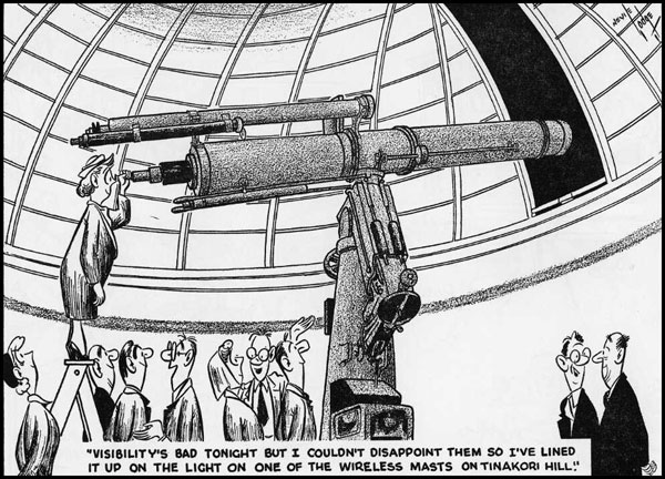 Cartoon of Carter Observatory visitors peering through a telescope at one of the tower lights at Wellington Radio ZLW