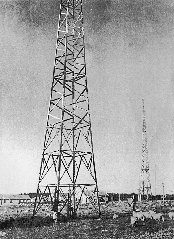 Towers at Awarua Radio in the 1970s