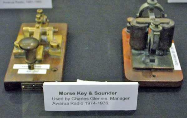Morse key and sounder used by Charles A Glennie at Awarua Radio