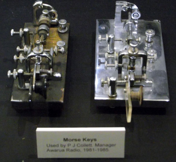 Semi-automatic telegraph keys used by Joe Collett at Awarua Radio