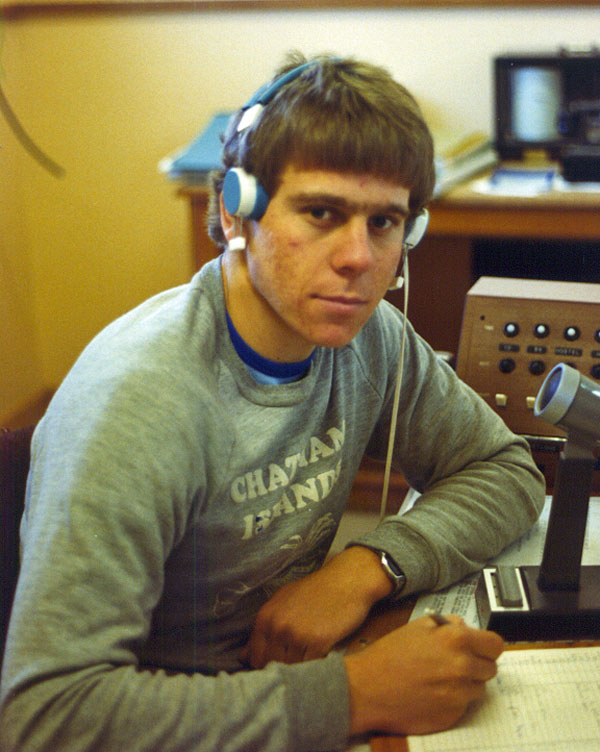 Tony Graham at Chatham Islands Radio in 1981 or 1982