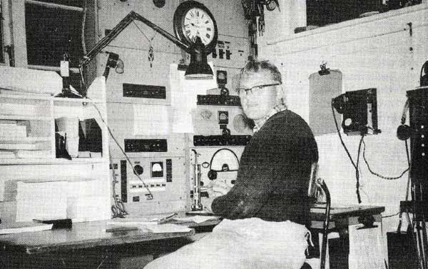 Radio operator Dave Smith at Chatham Islands Radio ZLC in 1958