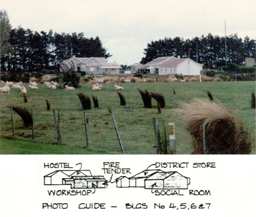 Buildings at Awarua Radio ZLB. Photographer and date unknown.