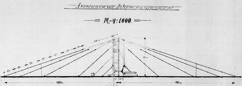 The umbrella type antenna covered a circle 360m in diameter. From original blueprints of Awarua/Awanui wireless stations