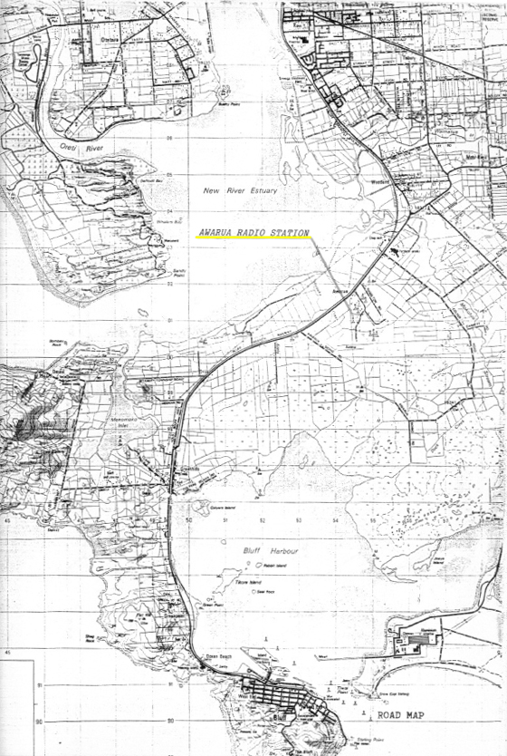 Map showing location of Awarua Radio ZLB c1985
