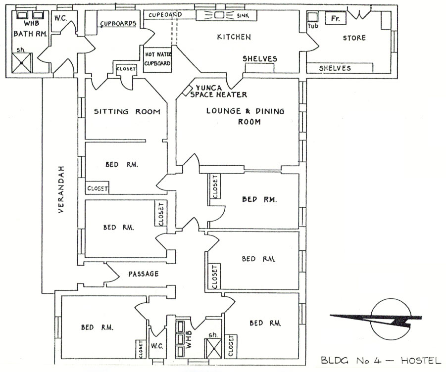 Plan of staff hostel at Awarua Radio ZLB