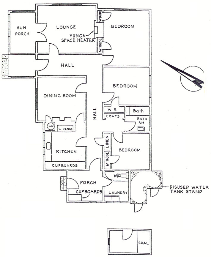 Plan of House 6 (possibly the manager's house) at Awarua Radio ZLB