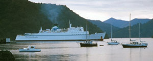 Arahanga reversing into the dock at Picton