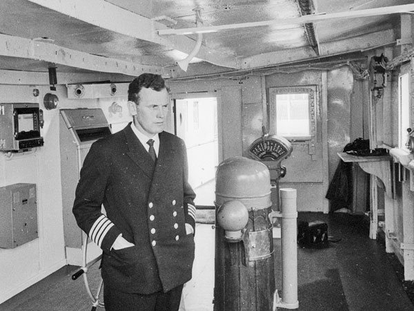 Captain B Agnew, master of Gothic, on the bridge shortly after the ship berthed in Wellington, 7 January 1969