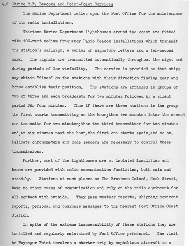 1960 description of radio beacons maintained by the NZ Post Office