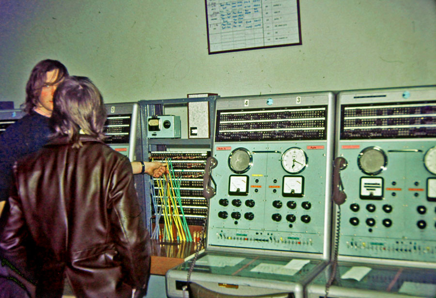 Circuits at Wellington Radphones for Niue and Apia, seen during a technicians' tour of Wellington Radphones c1970