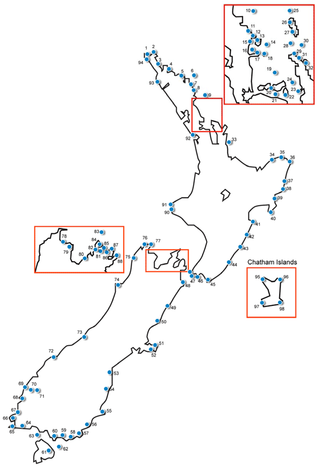 map showing locations of New Zealand lighthouses