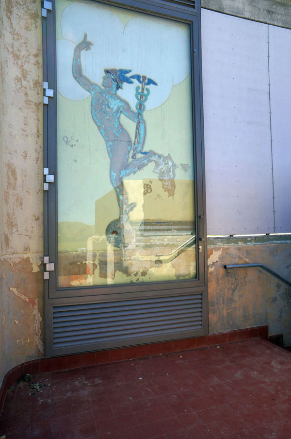 Painting of Mercury the winged messenger at Makara Radio.