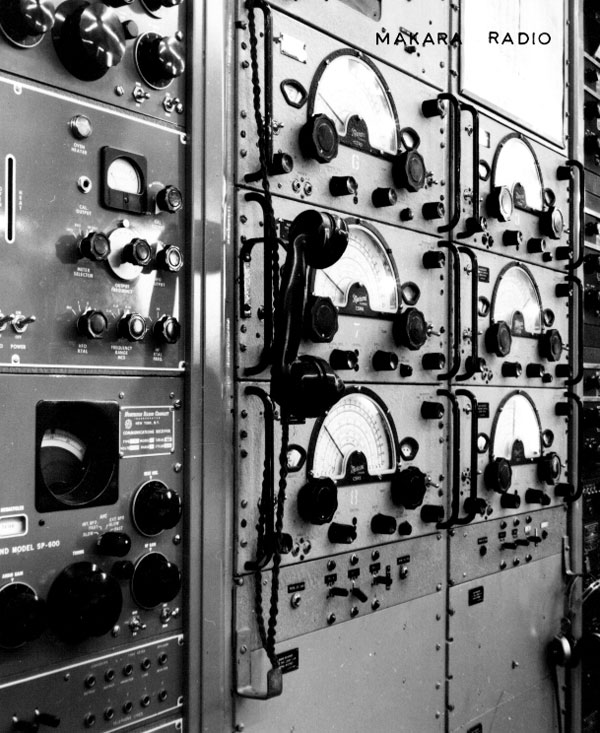 Two racks of Canadian Marconi CSR-5 receivers (probably providing triple diversity reception), with Hammarlund receivers on the left and RCA on the right.