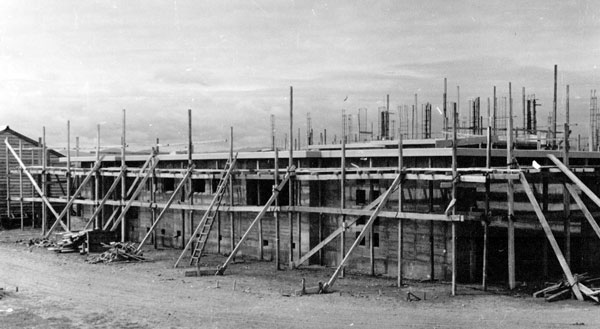 October 1951: Building the north wall of the administration wing at Himatangi Radio