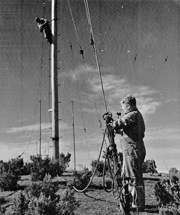 Riggers working at Makara Radio. Date unknown.