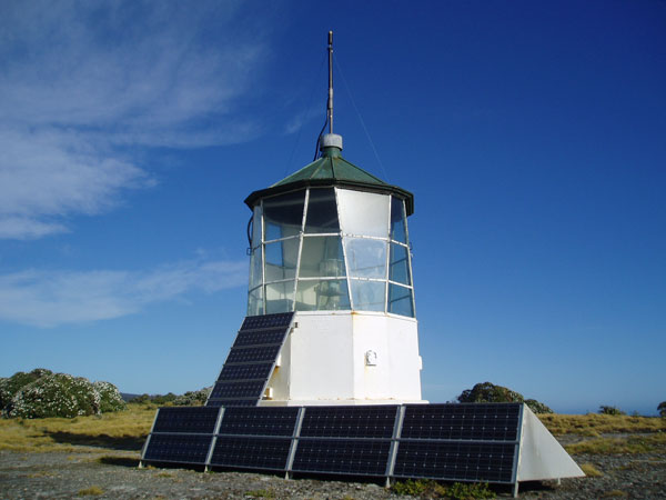 Puysegur Point light with its bank of solar panels