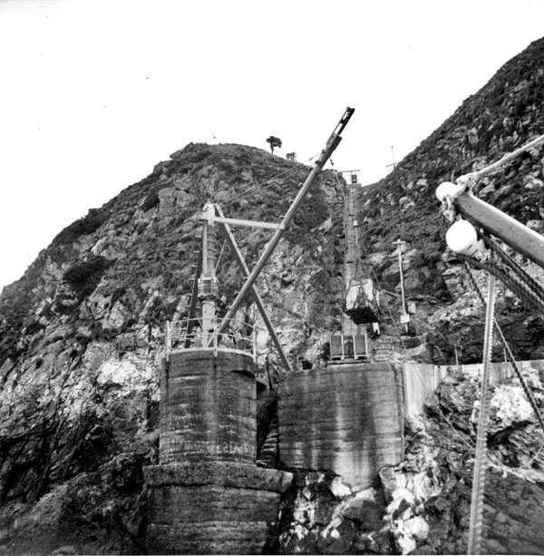The landing site at Stephens Island, showing the railway to the top, as seen from a lighthouse tender in the 1950s or 60