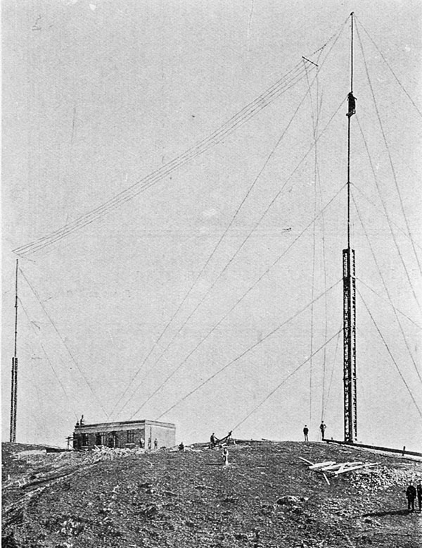 Within measurable distance of completion: the wireless station on Tinakori Hills, Wellington, showing the aerials in position.