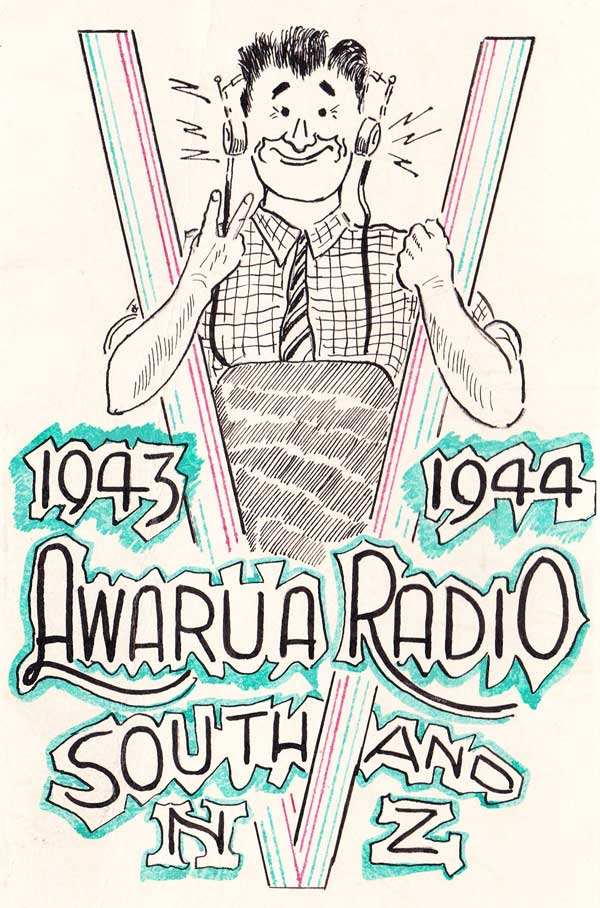 Christmas card from Awarua Radio, presumably reflecting the popular World War 2 campaign 'V for Victory'