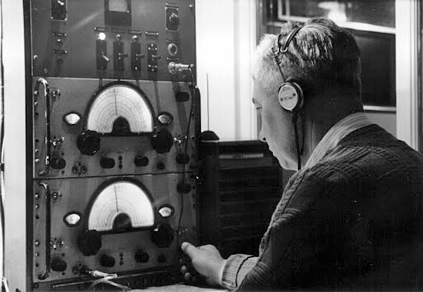 Radio operator Frank Bissmire at Auckland Radio ZLD in 1959