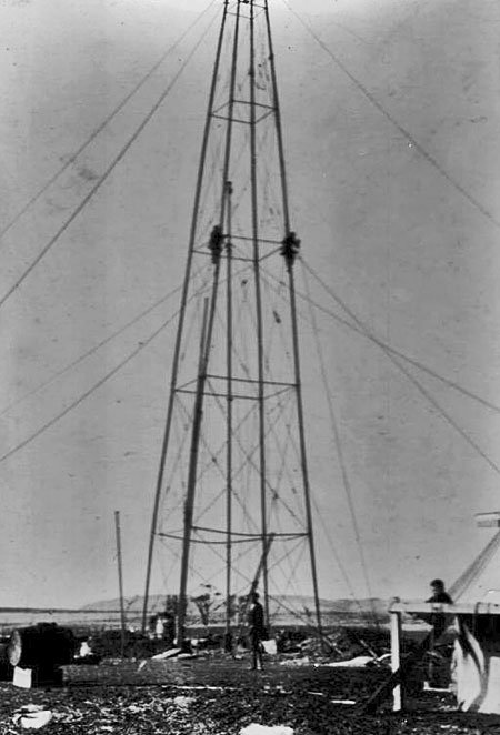 The first of two radio masts in position at the Chatham Islands. Photo undated, but probably 1913.