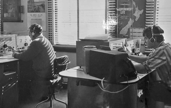 Operators at Awarua Radio in 1967: Cyril Burke, Paul J Cotter