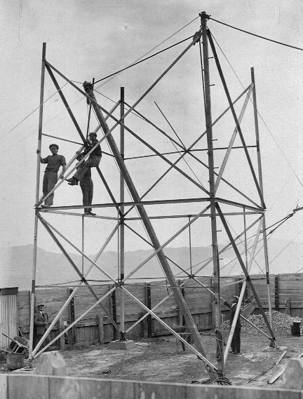 In the early 1920s, Wellington Radio got its first steel lattice tower, shown here under construction