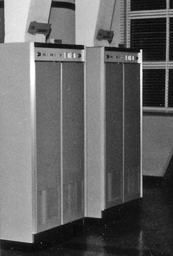 Two Collins transmitters buttoned up on the night shift in the early 1980s.
