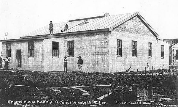 Engine house under construction at Awanui wireless station, c1912