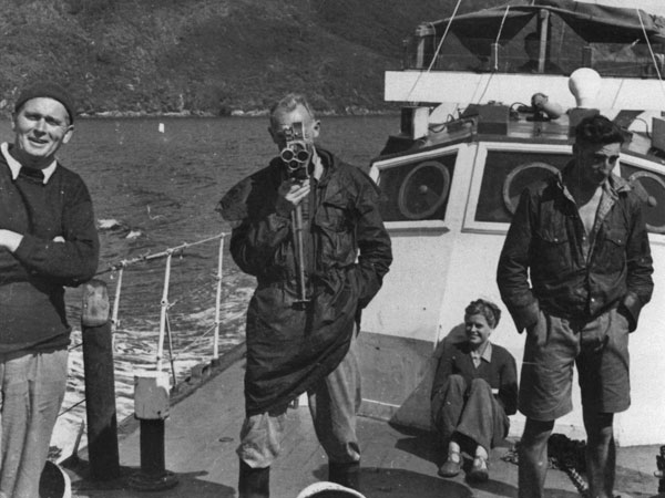 Aboard Alert: The skipper AJ Black (left) and Col John Howard (with camera)