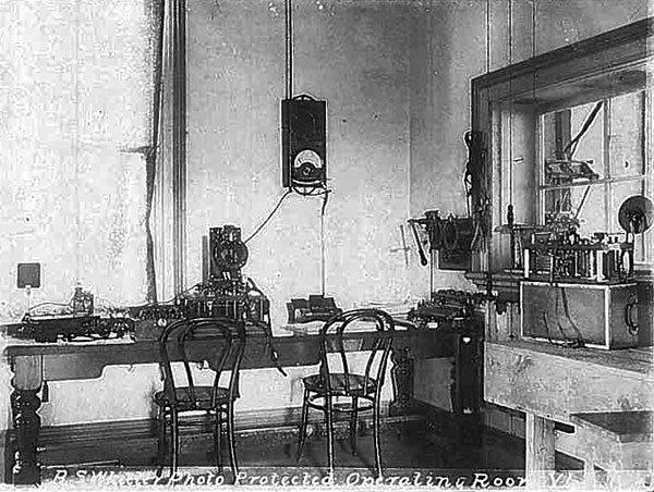 Operating room at Awanui wireless station. The high-tension room is through the window at the right.