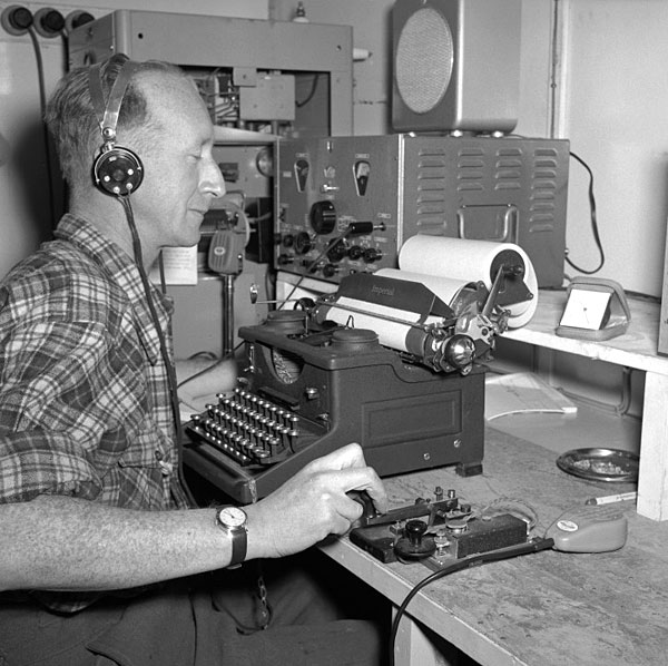 Radio operator Ted Gawn during the 1956-1958 season at Scott Base