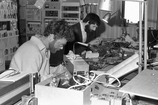 'Paul and Graham repairing radio sets' in 1987-1988