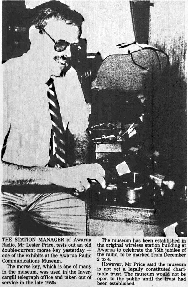 Lester Price with Creed telegraph key at Awarua Radio