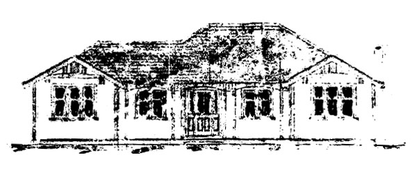 Front view, Officers' Quarters, from original plans