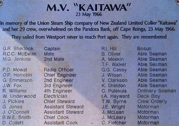 Part of a memorial to the crew of Kaitawa at the mouth of the Buller River in Westland