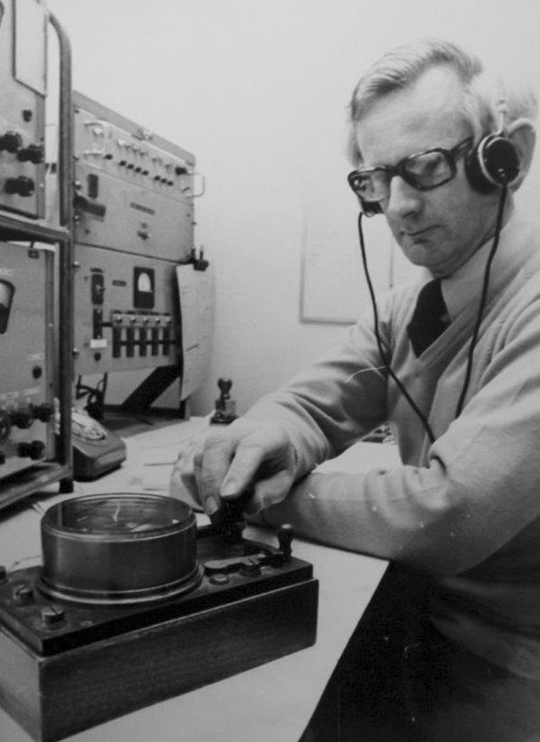 Keith Ramsay on 500kHz at Awarua Radio using his Creed telegraph key in the early 1970s