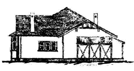 Side view, house for Officer in Charge, from original plans