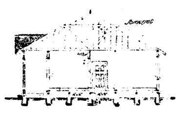 Side view, Officers' Quarters, from original plans