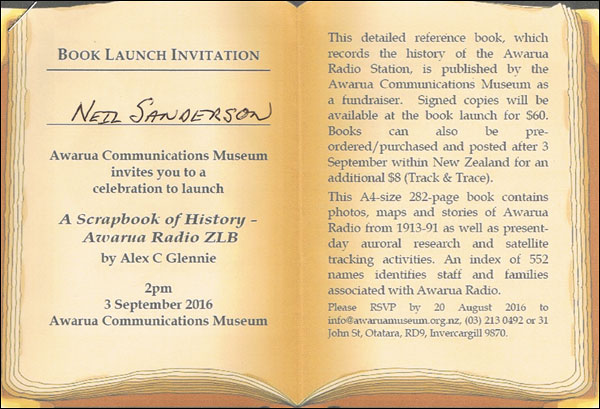 Invitation to the Awarua Radio book launch